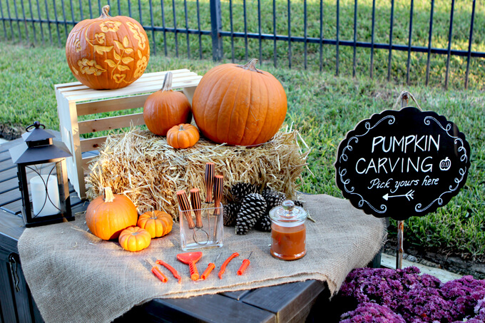 Fall Party Pumpkin Carving Station