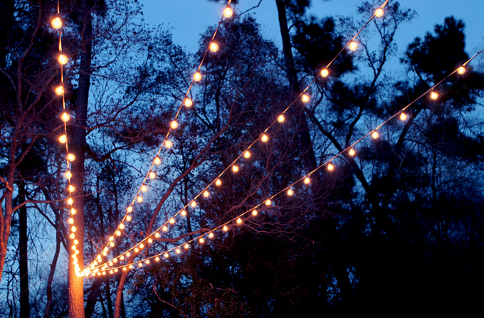 canopy of string lights in our backyard gray house studio. Black Bedroom Furniture Sets. Home Design Ideas