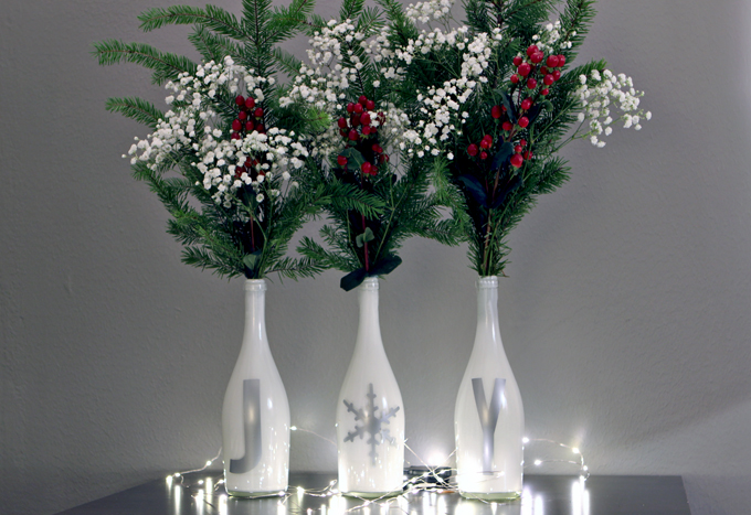 DIY Christmas Wine Bottle Vases
