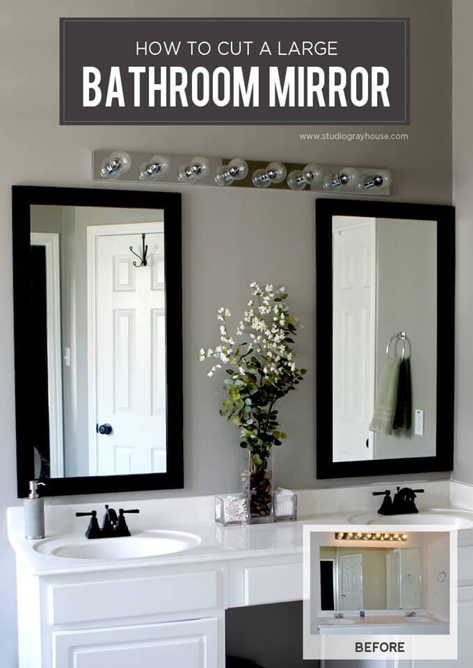 cut a bathroom mirror tutorial video gray house studio