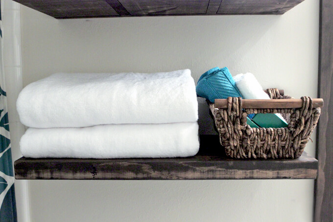 Floating Shelves in Bathroom Gray House Studio