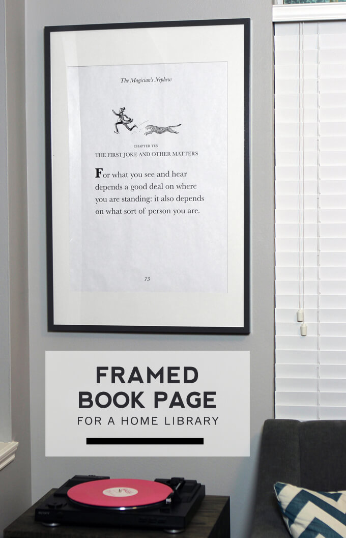 Framed Book Page for Library