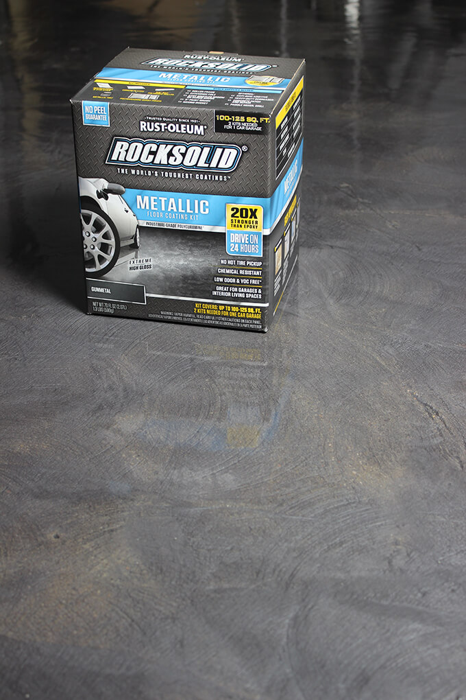 Make your garage floors beautiful and easy to clean with this comprehensive tutorial with video showing how to repair a concrete slap and apply the Rust-Oleum RockSolid Garage Floor Coating.