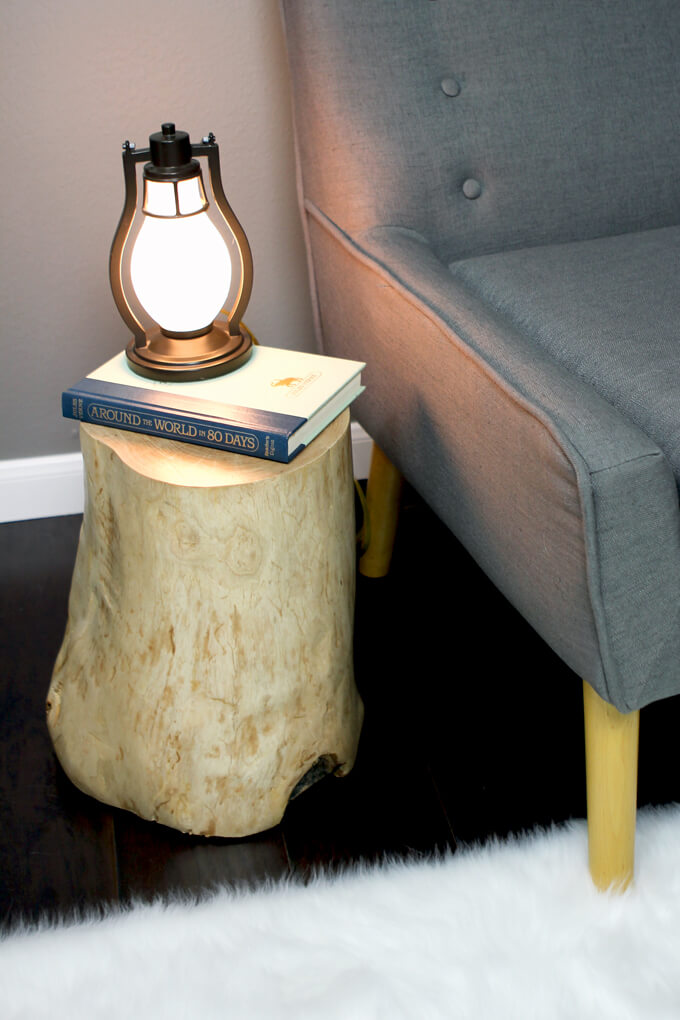 DIY Log Side Table