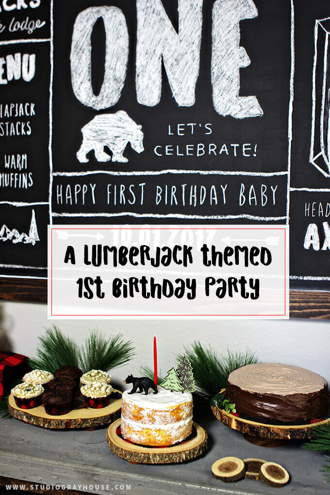 A Lumberjack Themed 1St Birthday Party - includes several DIY party decor projects! Lots of buffalo plaid, lumberjack and baby bear ideas!
