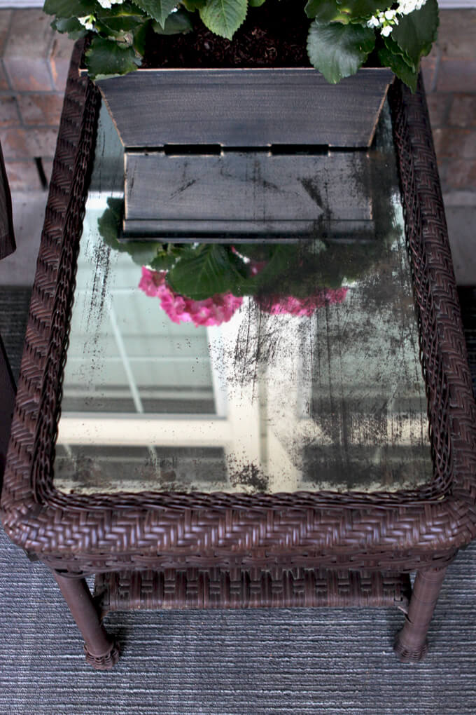DIY Distressed Mirror Table Top