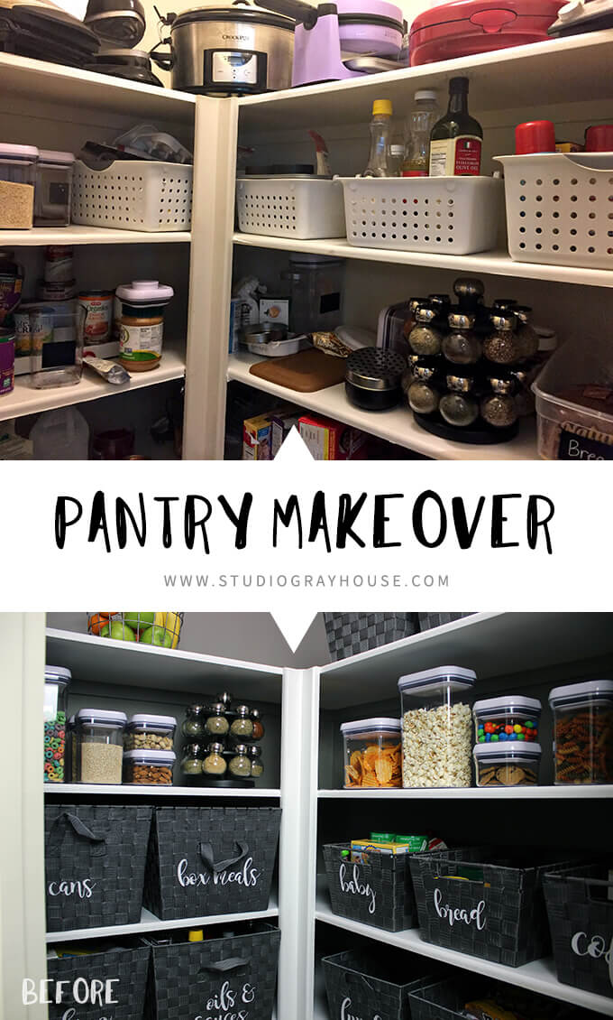 Organized Pantry Makeover with baskets