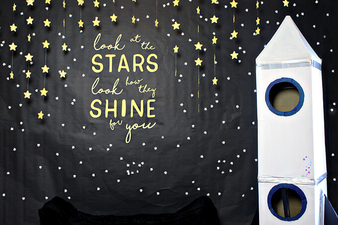 Space Themed 2nd Birthday Party Photo Booth by Gray House Studio