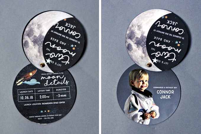 Space Themed 2nd Birthday Party Invitations by Gray House Studio
