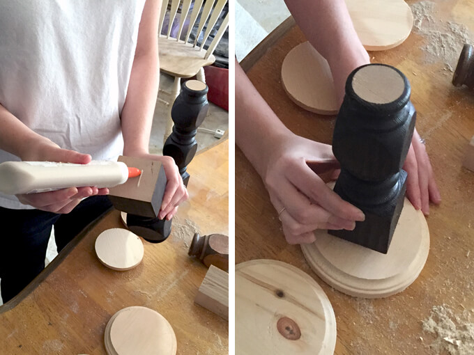 Diy wood candle holders made from old spindles for Diy wooden pillar candle holders